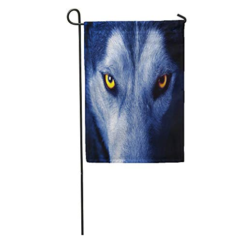 Threats Gray Wolf - Semtomn Garden Flag Gray Head Beautiful Eyes of Wild Wolf Yellow Animal Dog Home Yard House Decor Barnner Outdoor Stand 12x18 Inches Flag