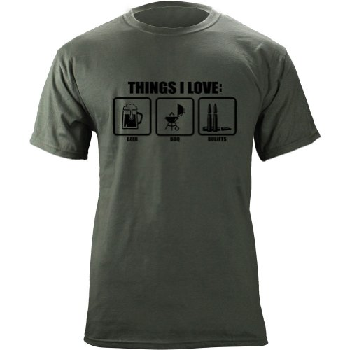 (Things I Love Beer BBQ Bullets Molon Labe Humor T-Shirt (XL, Green))