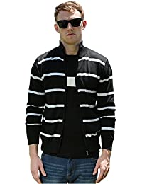 Men Zipper Front Yarn Dyed Stripe Long Sleeve knitted Cardigan Sweater