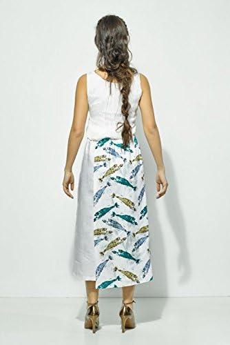 My faldas- Falda Pantalón Midi con Divertido Estampado de Peces ...