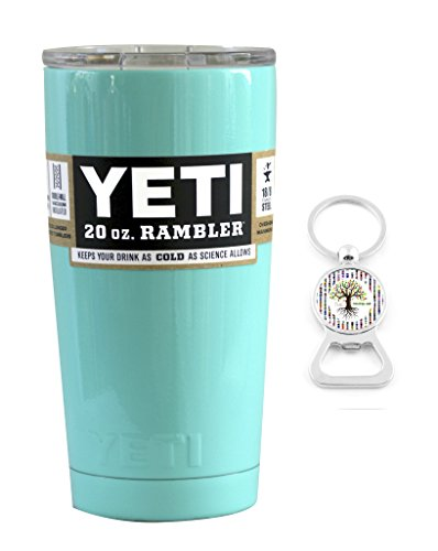 YETI Coolers Custom Powder Coated Insulated Stainless Steel 20 Ounce (20 oz) (20oz) Rambler Tumbler with Lid and Bottle Opener Keychain (Seafoam Green)