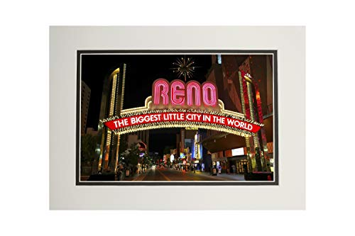 (Reno, Nevada - Neon Lights at Night - Photography A-97747 97747 (11x14 Double-Matted Art Print, Wall Decor Ready to Frame))