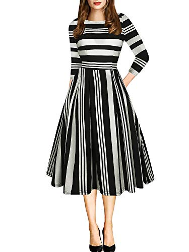 oxiuly Women's Vintage Classic Stripe Pockets 3/4 Sleeve Party Church Tea Swing Casual Dress OX165 (S, Black Stripe 7)