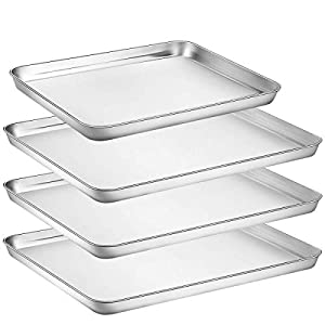 Umite Chef Stainless Steel Baking Pan, 4 Piece Large Cookie Sheet Set for Toaster Oven Tray Pans, Superior Mirror Finish, Easy Clean, Dishwasher Safe, 3pcs 16 inch &1pcs 12 inch