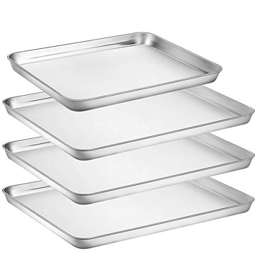Umite Chef Stainless Steel Baking Pan, 4 Piece Large Cookie Sheet Set for Toaster Oven Tray Pans, Superior Mirror Finish, Easy Clean, Dishwasher Safe, 3pcs 16 inch &1pcs 12 inch ()