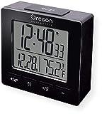 Oregon Scientific RM511A Portable Radio Controlled Alarm Clock, Dual Alarms, Indoor Temperature, Snooze Function, Time and Date Display, Black