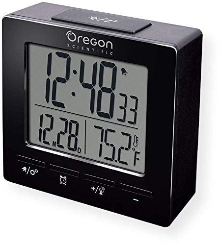 (Oregon Scientific RM511A Portable Radio Controlled Alarm Clock, Dual Alarms, Indoor Temperature, Snooze Function, Time and Date Display, Black)