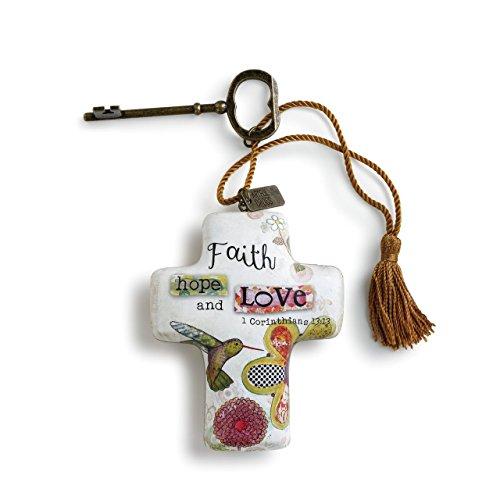 DEMDACO Faith Hope Love Artful Cross Shaped Resin Keepsake Decoration 4 Inch, Floral