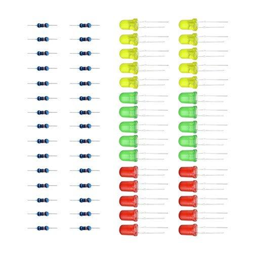 3色赤緑黄色LEDランプ実験用LED + arduino diyキット30ピース3色用抵抗