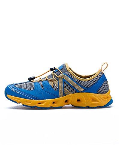 Makino Men's Non-Slip Sport Hiking Shoe Lightweight Walking Running Trainers 0343-1 Sapphire/Yellow 44