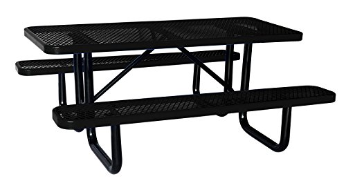 Lifeyard 6′ Rectangular Picnic Table, Expanded Metal, Black (72″ Long) Promotion!
