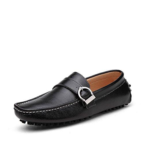 Yuanli Heren Casual Rijdende Suèdeleren Loafers Slip Op Mocassins Zwart
