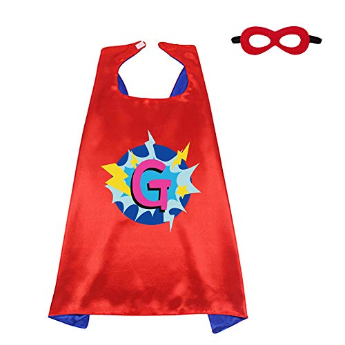 Red Superhero-Cape and Mask for Kid Costume with Name 26 Letter Initial (Cape-G) -