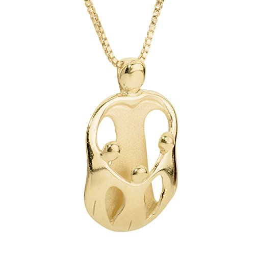 Gold Large Family Pendant - Loving Family - Gift Box with Yellow Gold Plated Sterling Silver Mother and Three Children Pendant - 18