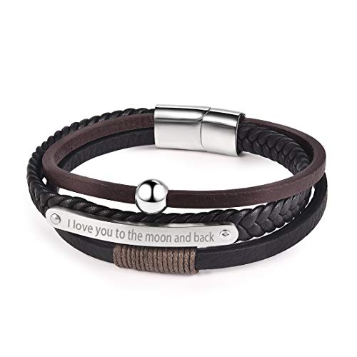 DALARAN Couple Bracelet I Love You Engraved Leather Wristband Black Cuff Personalized Gift for Loved by DALARAN