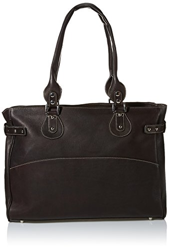 Piel Leather Large Ladies Side Strap Tote, Chocolate, One Size by Piel Leather