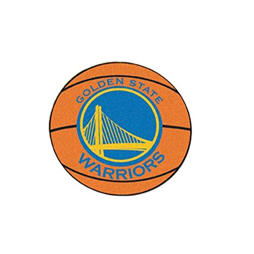 NBA - Basketball Mat 27 Inch Diameter Durable Floor Protector Non Skid Rug Mat (Golden State Warriors) (Basketball State Rugs)