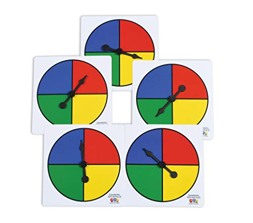 Learning Advantage Four-Color Spinners - Set of 5 - Game Spinner - Write On/Wipe Off Surface for Multiple Uses (Valentines Day Game Twister)