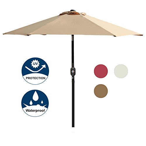 Blissun 7.5 ft Patio Umbrella, Yard Umbrella Push Button Tilt Crank (Tan) by Blissun