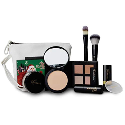FantasyDay 9Pcs Pro Makeup Gift Set Makeup Bundle Essential Starter Makeup Kit Includes Bronzing Powder, Loose Powder, Powder, Blush Stick, Concealer Stick, Contour Stick, Powder Puff, Brush and Bag ()