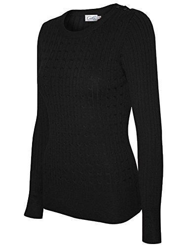 (Cielo Women's Basic Solid Stretch Crewneck Cable Knit Pullover Sweater Black S)