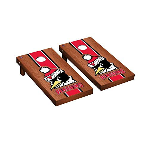 (Victory Tailgate Regulation Collegiate NCAA Rosewood Stained Stripe Series Cornhole Board Set - 2 Boards, 8 Bags - Youngstown State Penguins)