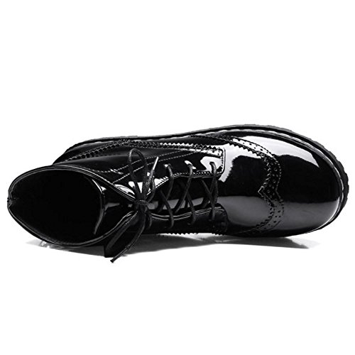 Femmes Flatform Cheville Lacets Bottes Zanpa Mode 85qBw16p