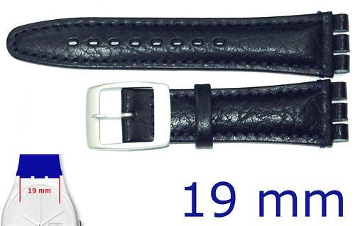 Replacement DARK BLUE Leather Strap for 19mm Irony Chrono Swatch Watches. by Condor by Condor