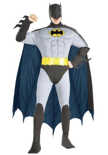 DC Comics Adult Deluxe Muscle Chest The Batman Costume, (Deluxe Muscle Chest Robin Adult Costumes)