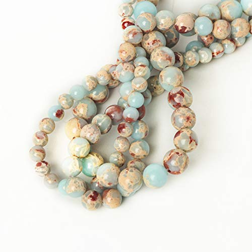 10mm Snakeskin Blue Stone Round Loose Beads for Jewelry Making