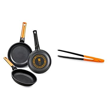 BRA Efficient Orange - Set de 3 sartenes + Air - Pinza de cocina de nailon, agarre en silicona, color naranja: Amazon.es: Hogar