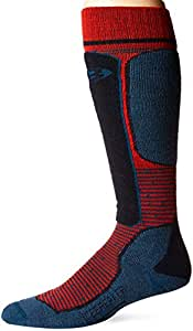 Icebreaker Merino Men's Ski Light Over The Calf Skiing Socks, Small, Chili Red/Prussian Blue/Midnight Navy