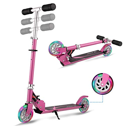 Lululy Foldable Kick Scooter Kids Adjustable Height Scooter with 2 LED Light Up Wheels for Children, Support 176 LBS