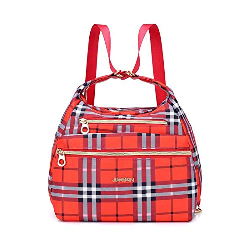 Organizer Shoulder Bag for Women Nylon Waterproof Backpack Purse Crossbody Casual Messenger bag Travel Handbag Multifunctional Totes (Scottish Plaid Red)