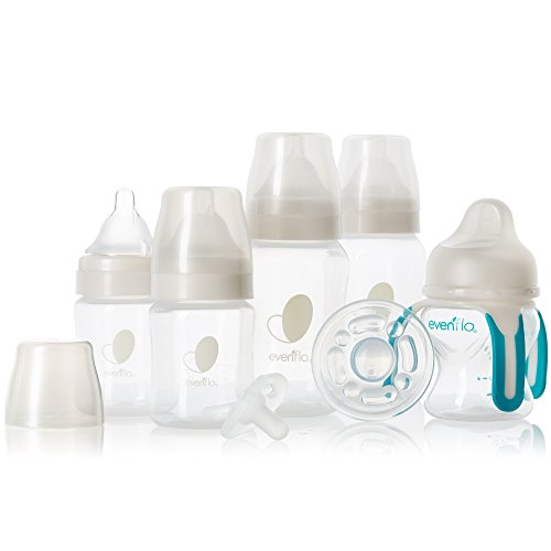 Evenflo Feeding Balance Plus Wide Neck Baby, Newborn and Infant Gift Set - with Bottles, Teether, Pacifier and Trainer Cup- (Pack of 7)