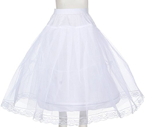 Girls Girls Wired Layered Lace Mesh Petticoat Skirt Tutu For Flowers Girls Dresses White M ()