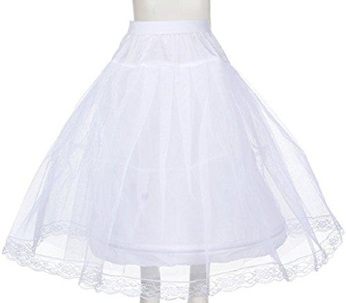 Girls Girls Wired Layered Lace Mesh Petticoat Skirt Tutu For Flowers Girls Dresses White M ()