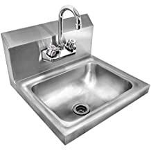 Giantex Stainless Steel Hand Wash Sink Wall Mount Commercial Kitchen Heavy Duty With Faucet