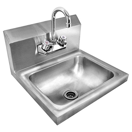 giantex stainless steel hand wash sink wall mount commercial kitchen heavy duty with faucet by giantex - Hand Wash Sink