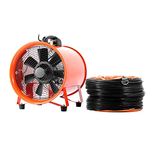 OrangeA Utility Blower 12 Inch 0.7HP 2295 CFM 3300 RPM Portable Ventilator High Velocity Utility Blower Fan Multifunctional Ventilator Fume Extractor with 5M Duct Hose(12 Inch Fan with Hose) ()