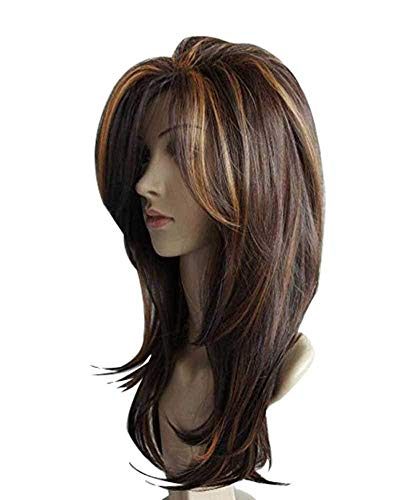 Wig with Highlights | QACCF Long Straight Layered Mixed Color Fashion Bob Women Wig