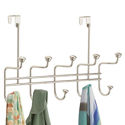 - mDesign Decorative Metal Over Door 10 Hook Storage Organizer Rack - for Coats, Hoodies, Hats, Scarves, Purses, Leashes, Bath Towels, Robes, Men's and Women's Clothing - Satin