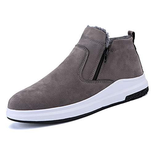 gris 44 EU JIALUN-des Chaussures Bottes de Neige élégantes pour Hommes Chaussures Chaudes Décontracté Facile Pratique Hiver Faux Fleece Intérieur Chaussures de Loisirs (Couleur   gris, Taille   44 EU)