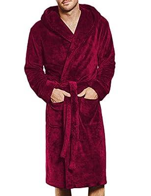 Men's Oversize Tie Front Velour Nightwear Bathrobes Long Sleeve Knee Length Surplice Night Sleepwear Pajama