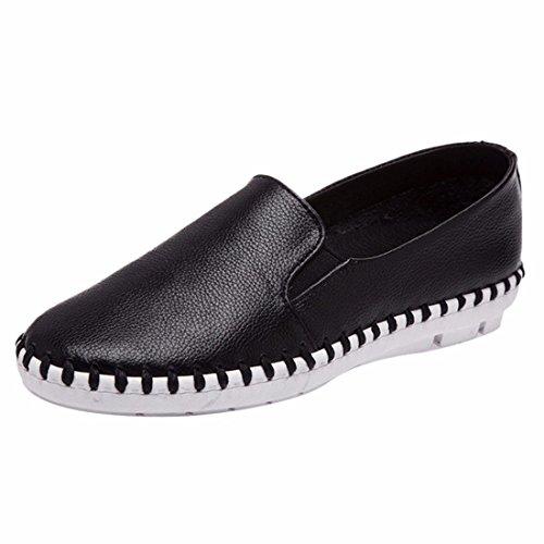 QIYUN.Z Frauen Entspringen Beiläufigen Flachen Weichen Fersen Kuhhaut Koreanische Loafer Schuhe Einzigen Schuh Schwarz