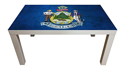 Probest Maine Flag - American Flag Coffee Table, Flag Coffee Table, Coffee Table, Pine Wood Coffee Table, Coffee & End Tables, Living Room Coffee Tables ()