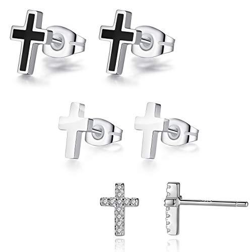 (REVEMCN 925 Sterling Silver and Stainless Steel Cross Stud Earrings for Women Men, 3 Pairs (3 Pairs))