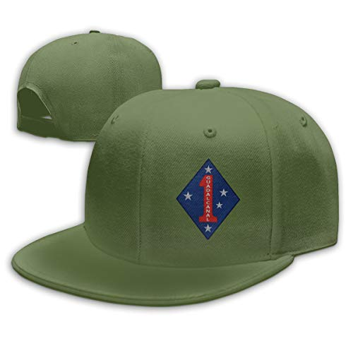 - CAPADANA 1ST Marine Division Patch Mens Cotton Adjustable Washed Twill Baseball Cap Embroidery Hat Moss Green