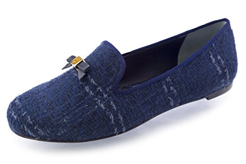 Tory Burch Chandra Loafer Shoes TB Logo (8.5, Navy - Tory Burch Navy
