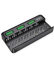 EBL 12+2 Bay batteriladdare – snabb batteriladdare – för AA/AAA/C/D NI-MH/NI-CD batteri & 9V NiMH/NI-CD/Li-ion batteri automatisk detektering och avstängning, LCD-display batteriladdare
